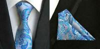 Tie Pocket Square Blue Silver Paisley Set 100% Silk Wedding Necktie Hanky