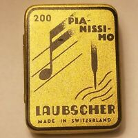 VTG Gramophone Laubscher 200 Pia-Nissi-mo Tin W/ Needles Made in Switzerland