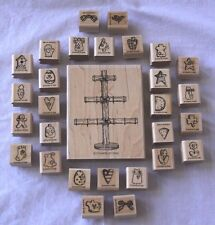 Stampin' Up! Tree & Set of 28 Holiday Mini Mounted Rubber Stamps NEW Never Used