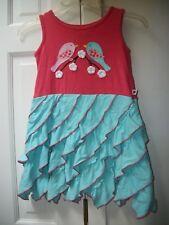 SAM & SYDNEY BOUTIQUE Girls Size 7 - CORAL & TEAL APPLIQUE RUFFLE DRESS NWOT