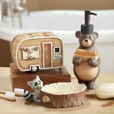 Woodland Animal Bathroom Set with Camping Bear, Moose, Racoon - 3 Pieces