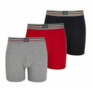 Mens 3 Pack Jockey USA Originals Cotton Stretch Boxer Shorts S-3XL Red/Grey/Navy