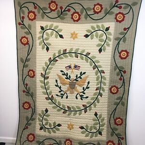 """Williamsburg Twin Full Size Reversable Quilt Hand Applique Eagle Flags 62"""" x 84"""""""