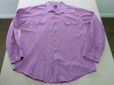 026 MENS NWOT YD. DUSTY PINK / NAVY MINI CHECK L/S SHIRT XXXL $90.