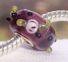 Maroon Pink Rose Single Core Glass European Style Bead for Silver Charm Bracelet