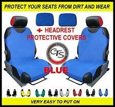 CAR FRONT SEAT COVERS PAIR + HEADREST BLUE OPEL CORSA A B C D ANTARA