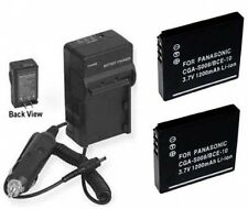 TWO 2 Batteries + Charger for Panasonic DMC-FX33S DMC-FX33T DMC-FX33K DMC-FX35S