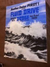 1940s Dodge Trucks Fluid Drive Original Brochure Prospekt