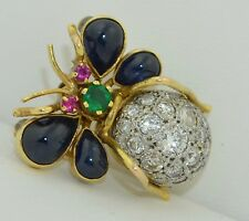 Large Platinum 14k Insect Pendant - Brooch with Sapphires Emerald Rubies & Diamo