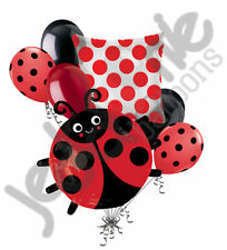 7 pc Red & Black Happy Lady Bug Balloon Bouquet Party Decoration Baby Birthday