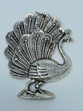 Silver-tone Vintage Peacock Pendant, Decorative Engraved Feathers, Boho Style