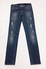 Human kate skinny jeans donna w25 tg 38 40 usati strappi stretch blu denim T2090