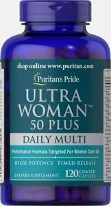 Puritans Pride Ultra Woman 50 Plus Multivitamin Caplets with Zinc, 120 Count,