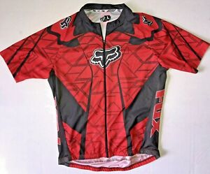 FOX men's LARGE L bike cycling JERSEY Red Black FULL ZIP