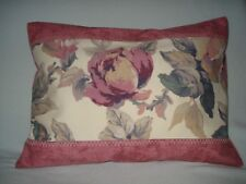 FLORAL TOILE LUMBAR ACCENT THROW  PILLOW COVER - Pink, Burgundy, Blue, Beige