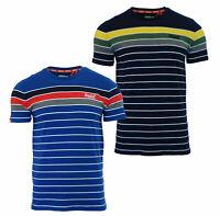 Superdry Mens New Breton Stack Short Sleeve Crew Neck Stripe T-Shirt Navy Blue