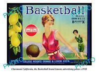 OLD LARGE HISTORIC PHOTO OF CLAREMONT CALIFORNIA, BASKETBALL LEMONS POSTER c1930