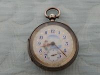 V.Big Silver 1899 Waltham Gents pocket watch with original hand decorated dial