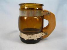 Brown Barrel Mug Shot Glass With Wooden Handle & Metal Bands Made Taiwan (O)