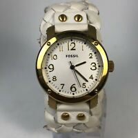 Fossil Womens JR1291 Wide White Leather Cuff Band Quartz Analog Wristwatch