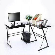 L-Shaped Corner Desk glass/metal * Gloss Black * ordinateur PC table Office Small