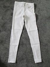 DIVIDED  - WHITE, COTTON BLEND, MID RISE SKINNY JEANS - size 8 used - zip fly