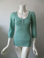 Charlotte Tarantola Green Scoop Neck 3/4 Sleeve Cotton Blend Top Shirt Blouse S