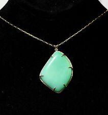 Natural Chrystoprase Pendant - 14k Gold Necklace Handmade Gemstone Jewelry #1334