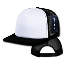 Black & White Blank Foam Mesh Flat Bill Snapback Trucker Baseball Ball Cap Hat