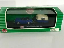Model Power Minis Porsche 356B With Camp Trailer Blue 19690 Die Cast Metal