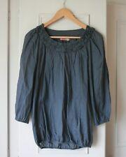 Next Ladies Cotton Blend Soft Indigo Grey Smock Blouse - Size 8 Long Sleeved