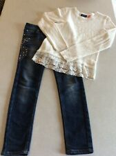 Children's Place Girls Sweater Top & Justice Denim Jeans Outfit Size 10