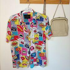 Soulstar England Colourful Multicoloured Pop Art Retro T-Shirt button up collar