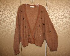 Anthropologie Charlie & Robin Brown Beaded Jeweled Nymphs Cardigan Sweater L