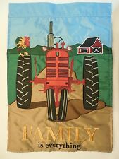 """FAMILY is everything"" Red Tractor on Country Road, Rooster applique HOUSE flag"