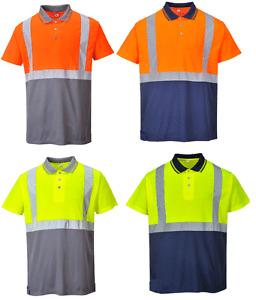 Portwest S479 Two Tone Hi Vis Polo Shirt Workwear - Various Colours ***