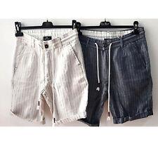 Bermuda Uomo Pantaloncino Corto Short A Righe Cotone e Lino Casual  42 44 46