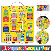 Baby Toddler Educational Wooden Calendar Toy Clock Date Weather Chart Kids Gift