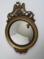 Antique Federal Bulls eye Convex Mirror W/ Eagle Wood & Gesso 18x12 Michigan USA