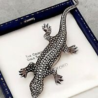 A Large Striking Sterling Silver Marcasite Brooch in the shape of a Lizard