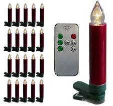20x LED Christbaumkerzen rot kabellos Weihnachtskerzen Lichterkette Baumkerzen