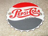 """VINTAGE """"PEPSI COLA BOTTLE CAP"""" 4"""" PORCELAIN METAL SODA POP GASOLINE & OIL SIGN!"""
