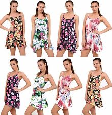 Ladies Long Camisole Cami Printed Strappy Swing Dress Vest Top Flared Sleeveless