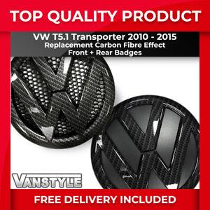 FOR VW T5.1 10-15 OEM STYLE REPLACEMENT FRONT/REAR CARBON FIBRE EFFECT BADGE SET