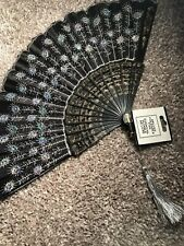 Spanish Black Embroidered Folding Hand Held Fan Sequins Party Bridals