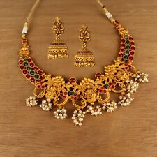 South Indian Bollywood Copper Necklace Gold Plated Matte Finish Temple Jewelry