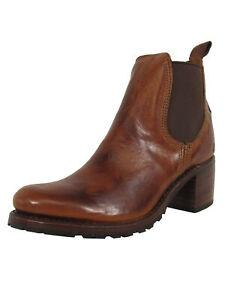 $398 Frye Womens Sabrina Chelsea Bootie Shoes, Cognac, US 8