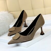 Womens Retro Kitten Mid Heels Pointed Toe Suede Pumps Sexy Party Slim Heel Shoes