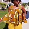 Loose Women African Print Sleeveless Tops Strapless Blouse Summer Tank T-Shirts