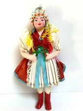 Vintage Cloth Lenci Type Doll In Eastern Europe Ethnic Outfit Handcrafted 8 1/4�